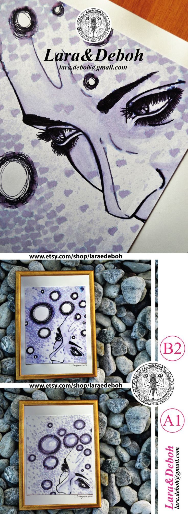 """Original drawing from the Limited Edition collection """"Lara&Deboh"""".   Author: Lara Colognese  https://www.etsy.com/shop/laraedeboh"""