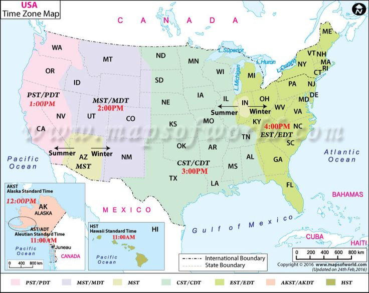 USA Time Zone Map I Maps Pinterest Time Zone Map And Time Zones - Map of the us time zones