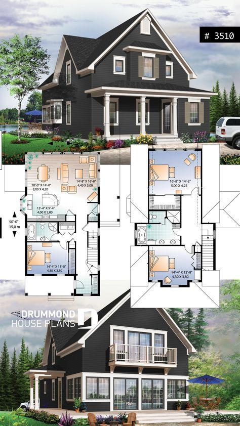 Scandinavian style country cottage plan, master on…