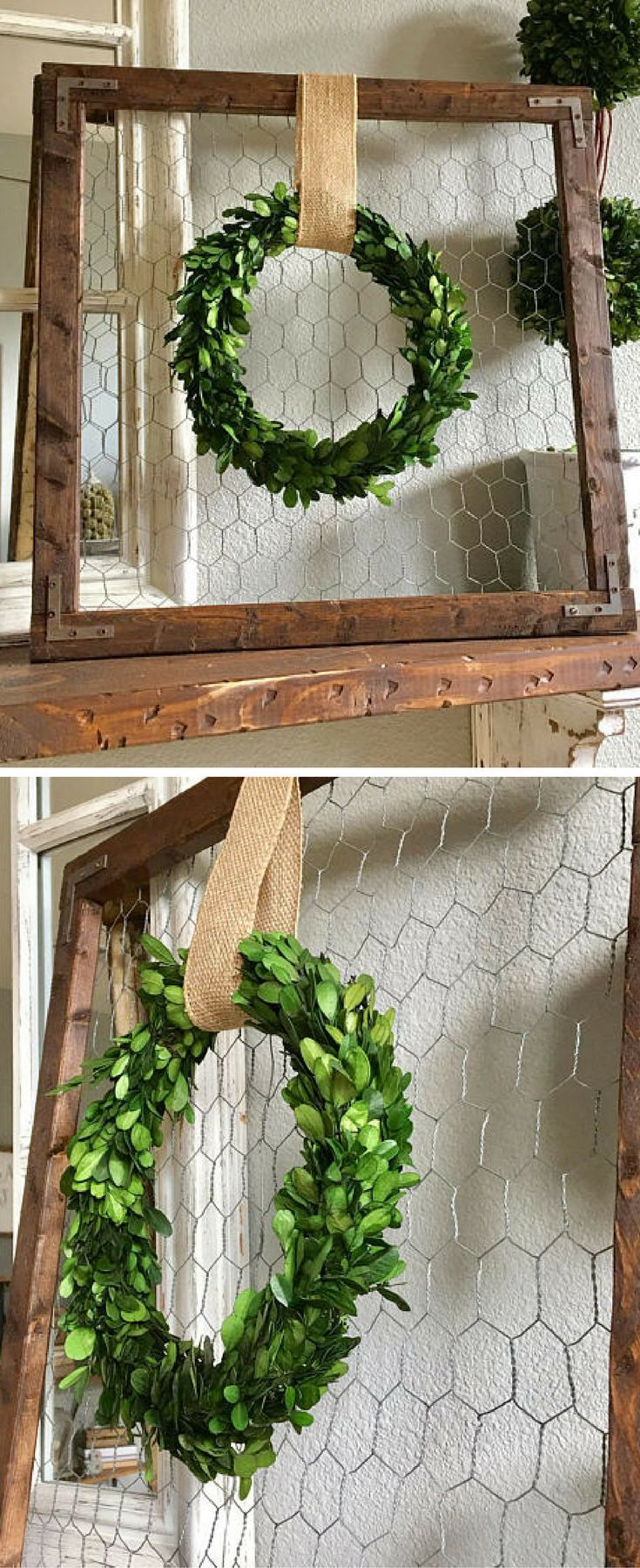 "Farmhouse wood frame, chicken wire background with a 11"" preserved boxwood wreath hung with a burlap ribbon, rustic sign, rustic decor, farmhouse wall decor, farmhouse sign #ad"