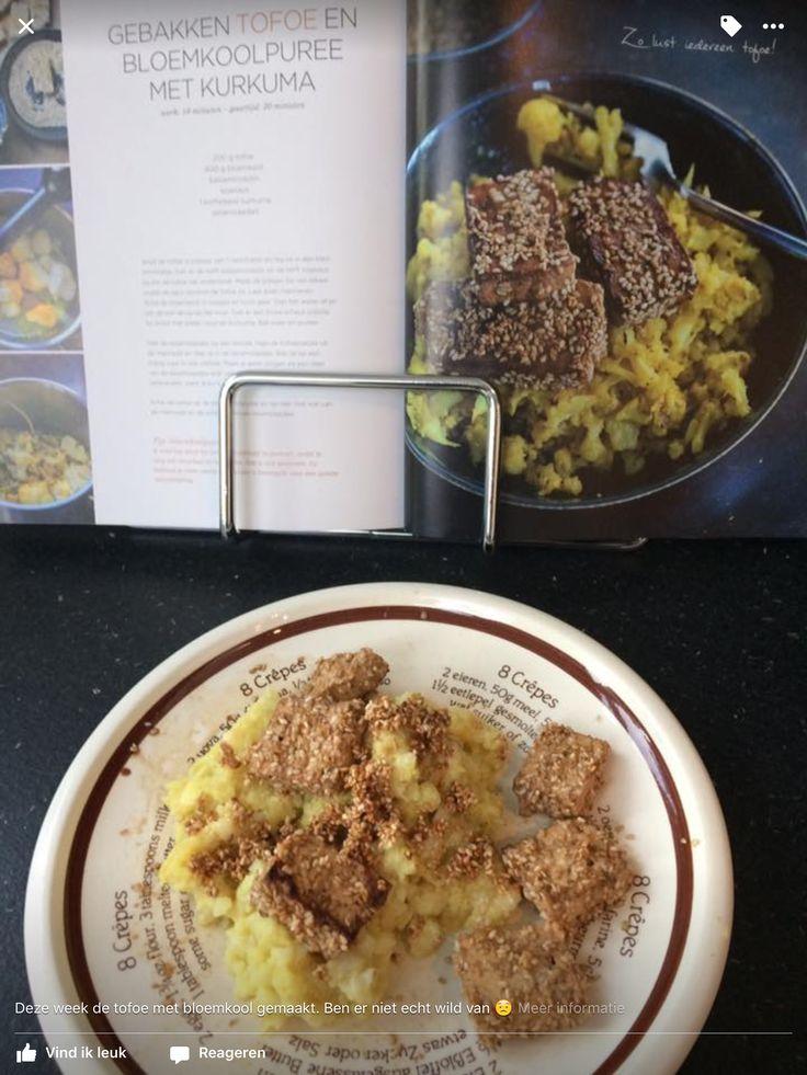 Gebakken tofu en bloemkoolpuree met kurkuma