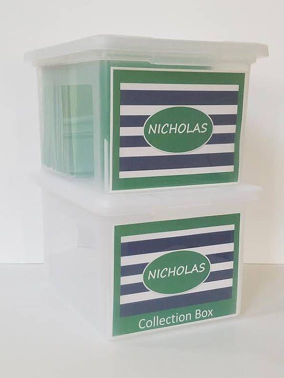 Back To School Organizer Keepsake Box Work Memory Paper Storage Pdf Blue Green Stripes