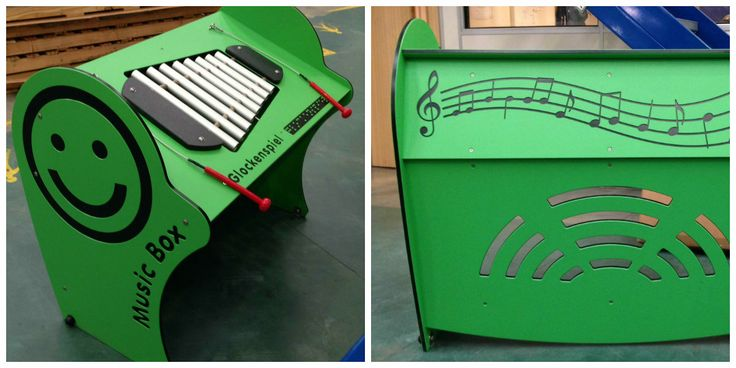 The lovely IP401 #Inclusiveplay #MusicBox in green with glockenspiel is out of the factory! Designed to engage children in music in playtime and made accessible with a table top height for wheelchairs and featuring braille