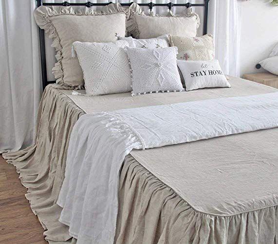 French Linen Bedspread King Natural Linen Ruffles Bedspreads Queen Size Ruffle Bedspread Bed Spreads Vintage Bed