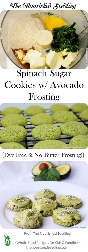 These cookies are naturally green to help give a colorful boost to any celebration. The folic acid in spinach is a bonus in the cookies, which are topped with potassium rich avocados replacing the butter in the frosting. *Gluten free recipe included, too! #StPatricksDay