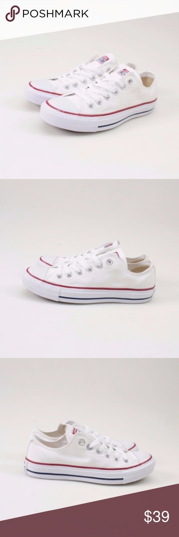 Converse All Star Low Tops Optic White // Size 6  Classic low top Chucks for all seasons!  Durable canvas upper.  Lace-up front with metal eyelets.  Canvas lining and a cushioned footbed provides hours of comfort.  Women's size 7.5 = men's size 5.5   These shoes were a store return, so they have been tried on. Otherwise, not worn out.  Photos show all details.   These come brand new in the original box, but the box does have damage.  #24WKSD // Converse // Chuck Taylors // Sneakers // All…
