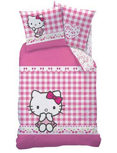 Lenjerie de pat Hello Kitty roz in carouri 140x200cm bumbac antialergic