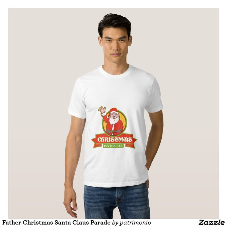 """Father Christmas Santa Claus Parade Tshirts. Men's Christmas t-shirt showing a retro style illustration of cartoon Santa Claus on isolated white background with circle and scroll with words """"Christmas Parade."""" #christmaspresents #xmasgifts #xmas2015"""