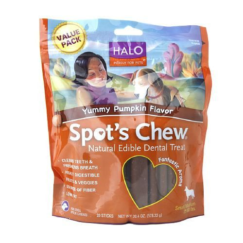 Halo, Purely For Pets Spot's Chew Natural Edible Dental Treats, Yummy Pumpkin