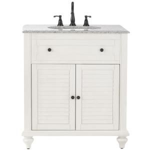 Home Decorators Collection Hamilton 31 in. W x 22 in. D Shutter Bath Vanity in Ivory with Granite Vanity Top in Grey with White Basin 1235000410 at The Home Depot - Mobile