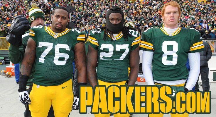Aaron Rodgers photobomb: 2013 Week 12: Minnesota Vikings Mike Daniels, Eddie Lacy, Tim Masthay