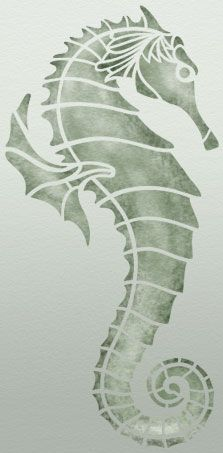 Free seahorse printable stencil design