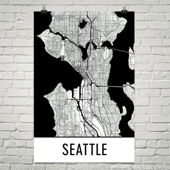 Seattle Map Art Print, Seattle WA Art Poster, Seattle Wall Art, Seattle Gift, Birthday, Decor, Modern, Art