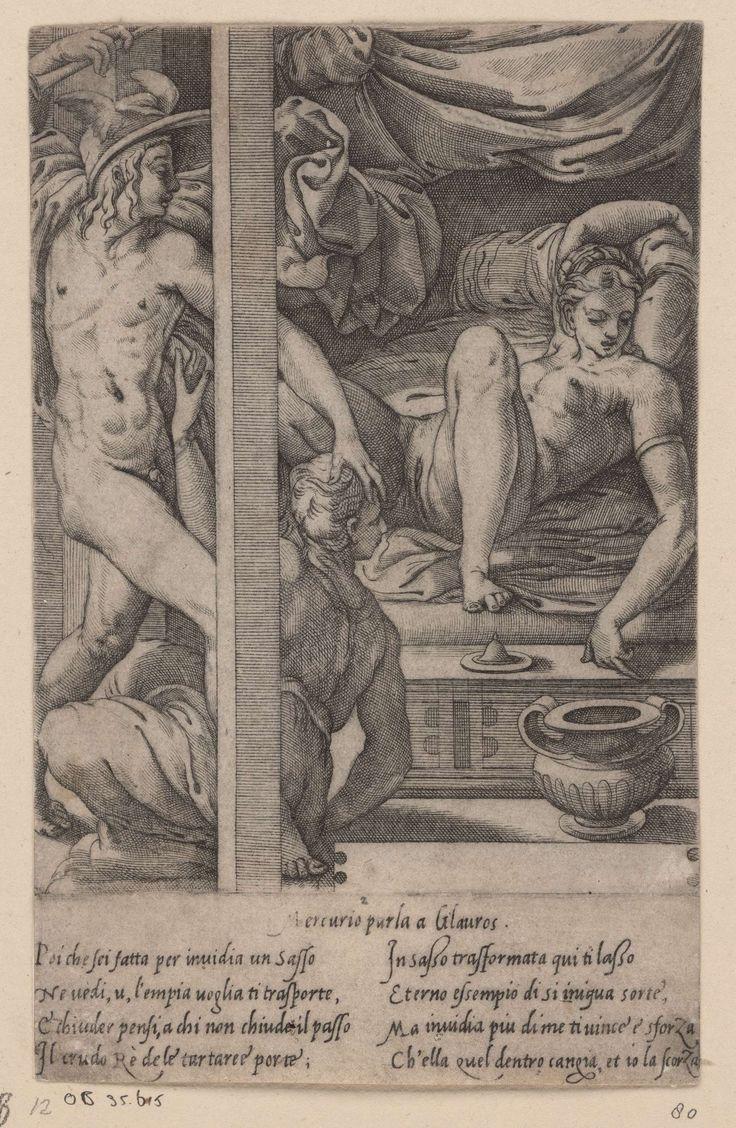 Jacopo Caraglio | Mercurius bezoekt Herse, Jacopo Caraglio, 1515 - 1565 | Mercurius betreedt de kamer van Herse, op wie hij verliefd is geworden. Herse ligt naakt op bed. Aglauros, de jaloerse zuster van Herse, probeert Mercurius tegen te houden. In de ondermarge Italiaans vers in twee kolommen.