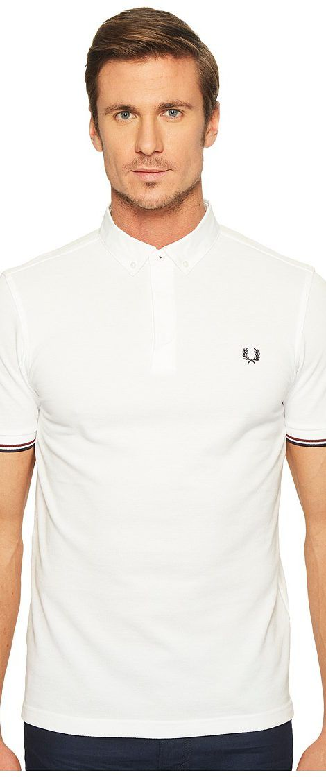 Fred Perry Woven Collar Pique Shirt (White) Men's Clothing - Fred Perry, Woven Collar Pique Shirt, M1503-100, Apparel Top General, Top, Top, Apparel, Clothes Clothing, Gift - Outfit Ideas And Street Style 2017
