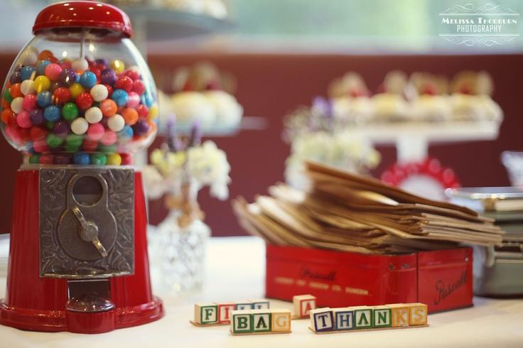 Vintage & Pretty gumball machines.  Dessert table colour and fun.  Props: www.vintageandpretty.co.nz  Photographer: melissathorburnphotography.com