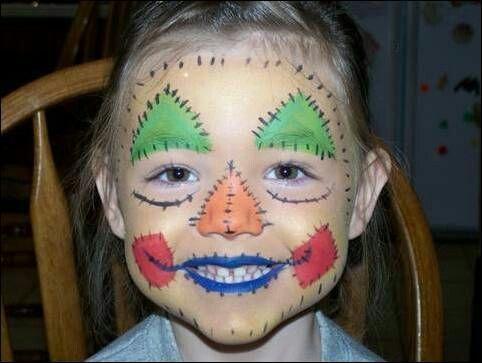 Kids scarecrow face paint design
