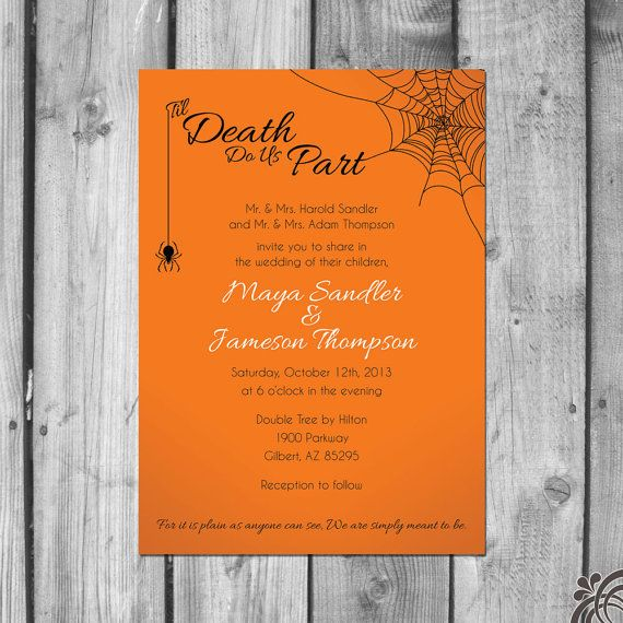 *Different color scheme for sure, lol!  Halloween Themed Wedding Invitations Set by ChristinaElizabethD, $2.50