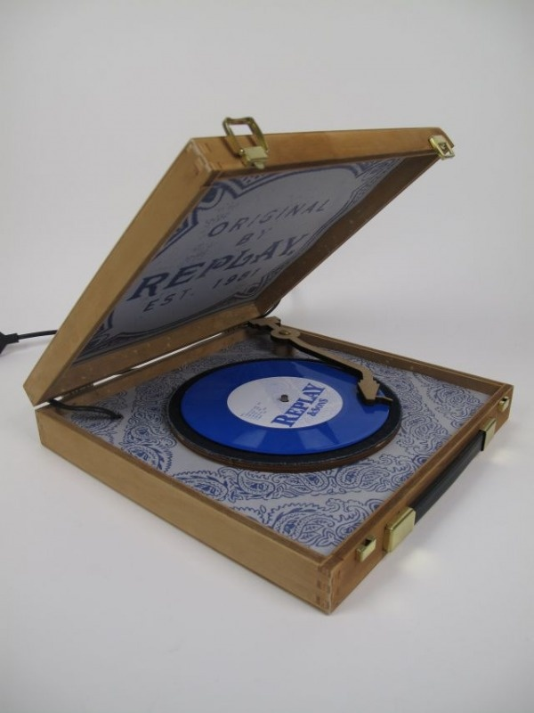 A custom made record player, ompletely made from wood.
