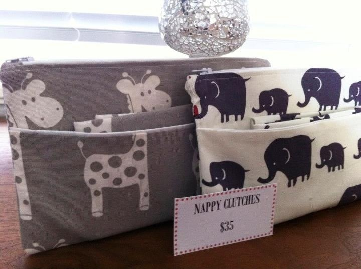 Nappy clutches. Includes waterproof backed change mat. Clutch Approximately 15cm x 25cm. $35 not inc postage