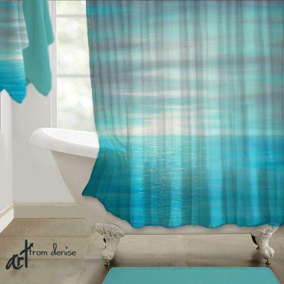 Coastal Shower Curtain Teal Gray Aqua Turquoise Blue Beach