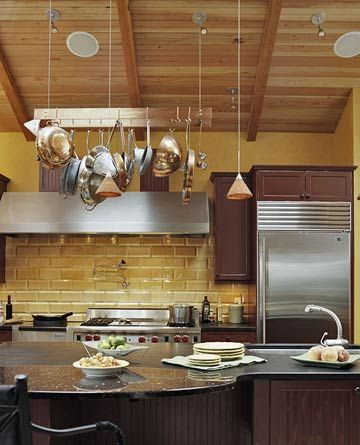 High Ceiling Hanging Pot Rack Considering Dropping A Along With Some Pendant