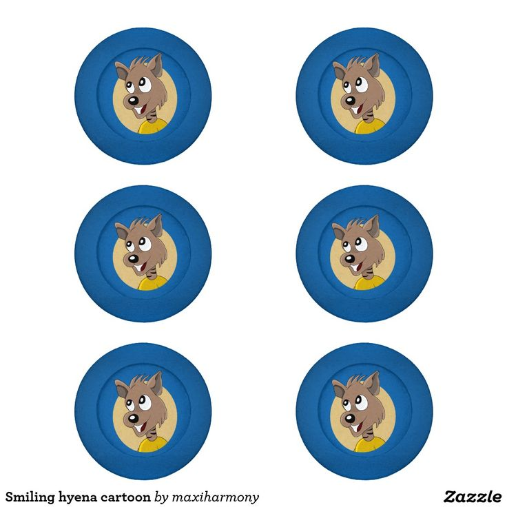 Smiling hyena cartoon pack of small button covers