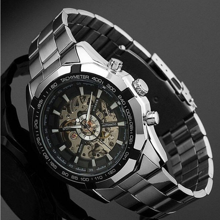 Skeleton Automatic Watches For Men Silver Stainless Steel Wrist Watch -Free Shipping for all to over 200 countries on Malloom.com