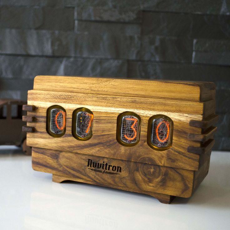 The Vintage Nixie Tube Clock - Volta #Nuvitron #gadget #nixie #luxury #teak #passion #contemporary #desingwanted #inspiration #giftforyourman #interiorstyling #nixietubeclock #nixieclock #timepiece #vintagtimepiece