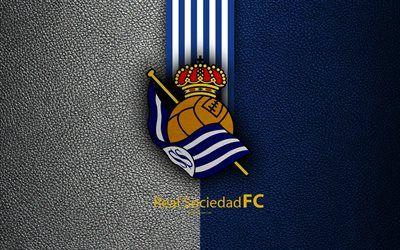 Descargar fondos de pantalla La Real Sociedad FC, 4K, club de fútbol español, La Liga, logotipo, emblema, de textura de cuero, San Sebastián, España, fútbol libre. Imágenes fondos de descarga gratuita