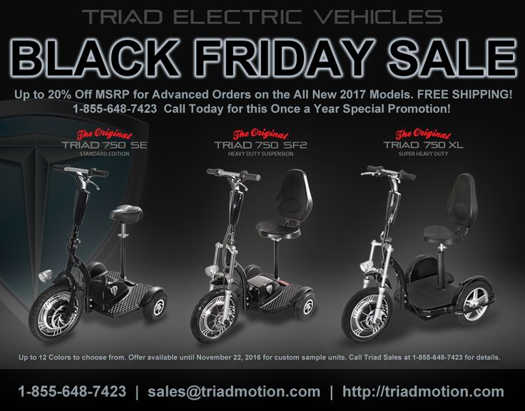 32 best electric scooters for adults triad 750 mobility for Motorized scooter black friday