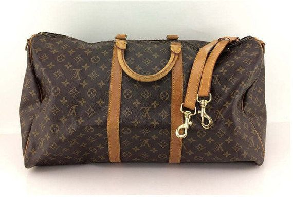 Louis Vuitton Keepall Bandoliere 55Brown Monogram. Bolsa de