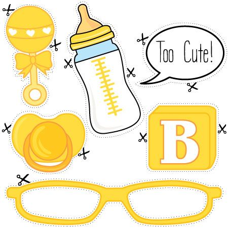 Download and print our free baby shower photo props - perfect for a bright and colourful yellow baby shower photo booth.