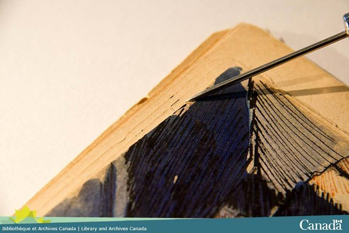 A stroke of black ink bleeds—a clue to which page come next! #conservation