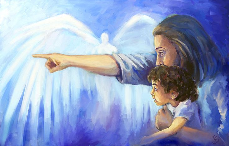 Jesus pointing for child, Hope Painting by Tamer and Cindy Elsharouni