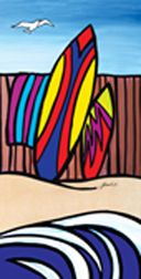 Surfin Summer, Surfboards leaning on wooden fence. By NZ Artist, Sarah C