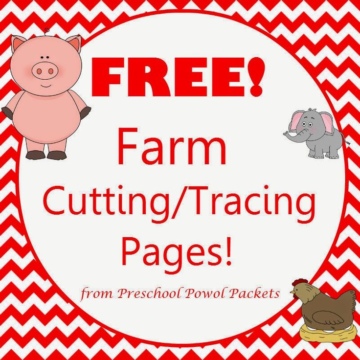 Farm Theme Cutting/Tracing Pages (free; from Preschool Powol Packets)