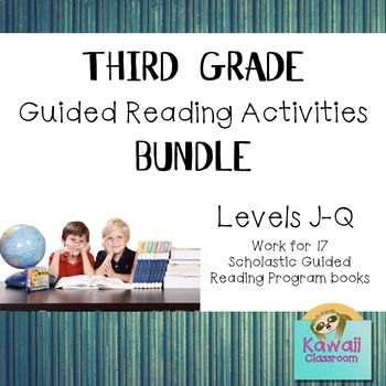 "Worksheets for books in the Scholastic Guided Reading Programs for levels J-Q (Third grade). It contains the following resources.  <a href=""https://www.teacherspayteachers.com/Product/Kenny-and-the-Little-Kickers-Sequencing-LongShort-o-Sounds-Level-J-3109666"" target=""_blank"">Kenny and the Little Kickers (J)</a><br /><a href=""https://www.teacherspayteacher..."