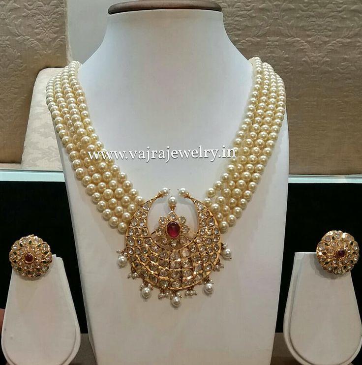 Pearl Necklace with Half Moon Diamond Pendant