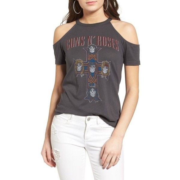 Women's Daydreamer Appetite For Destruction Cold Shoulder Tee ($59) ❤ liked on Polyvore featuring tops, t-shirts, coal, distressed t shirt, ripped tee, cut out t shirt, cut out shoulder t shirt and vintage style t shirts