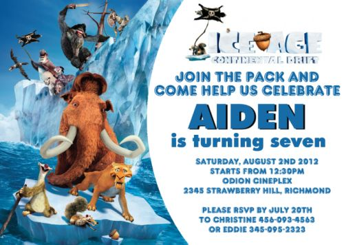 Ice Age 4 Continental Drift- Custom Birthday Invitation | designdream - Cards on ArtFire