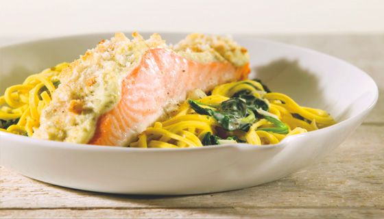 Spaghetti met zalm, spinazie en boursin cuisine