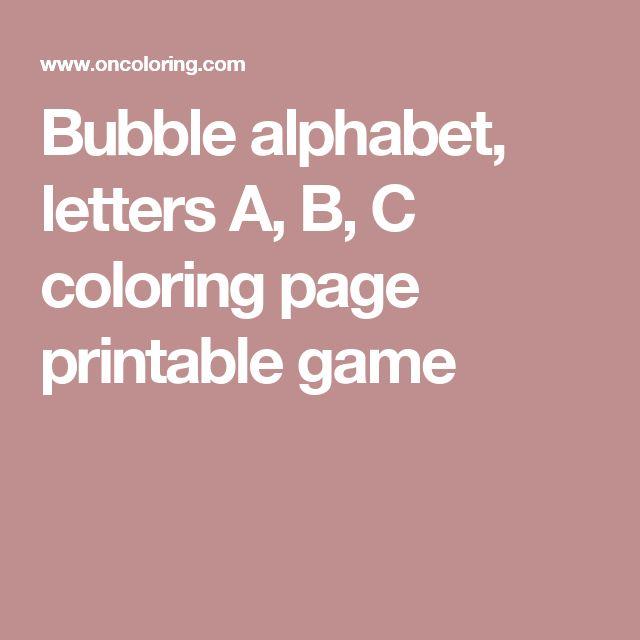 Bubble alphabet, letters A, B, C coloring page printable game