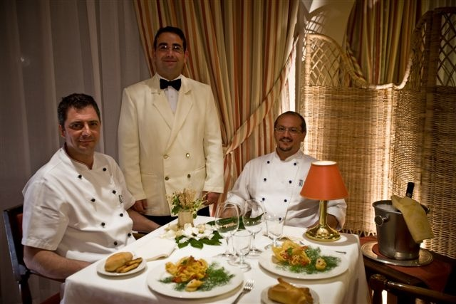 "Our #staff: #Chef ""Beppe"" Danile with Marcello (2nd Chef) and Vincenzo (#Restaurant). L'Oleandro #Restaurant @ Grand  #hotel Baia Verde in #Catania."