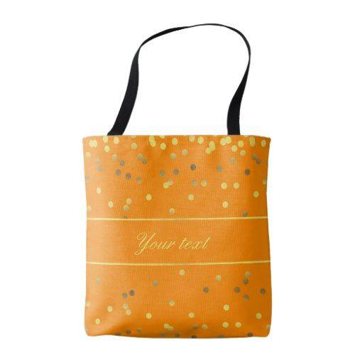 Stylish Faux Gold Foil Confetti Orange Tote Bag