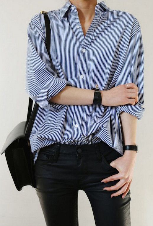 striped button down, black bag and leather pants #style #fashion