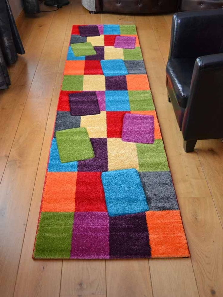 Candy Multicoloured Blocks Design Rug. Available in 5 Sizes (67cm x 300cm): Amazon.co.uk: Kitchen & Home