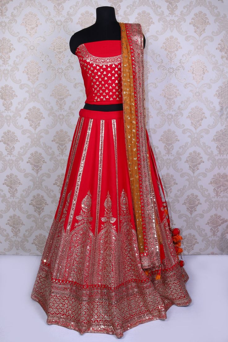 Tomato red pure silk kalidar angelic lehenga choli with zari & gota work -GC570 - Designer Bridal Lehenga - Lehenga