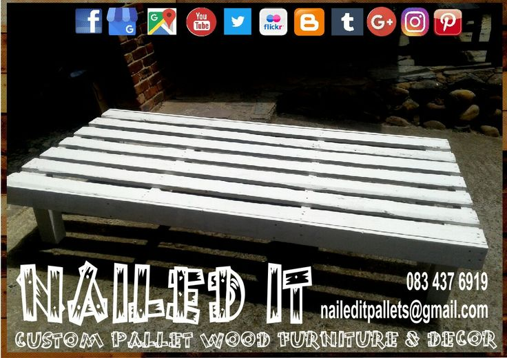 Pallet wood single bed. White paint finish. #naileditpalletfurniture #palletbed #palletbedideas #custompalletfurniture #palletfurniture #palletwoodfurniture #palletfurnituredurban