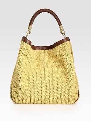 Yves Saint Laurent YSL Large Raffia Roady Hobo